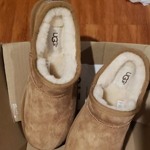 BrandNew!TanSuede/Leath Ugg Moccasin Mule Slippers